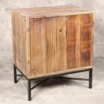 Elegant Reclaimed Wood 2 Drawer Nightstand