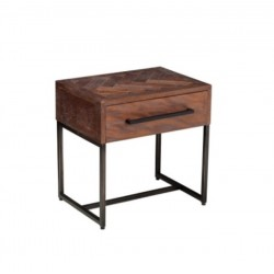 Angora Herringbone Inlay 1 Drawer Night Stand