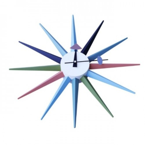 Nelson Inspired Sunburst Clock Multicolor