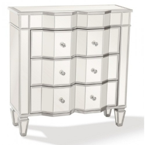 Mirrored Nightstand with 3 Drawers