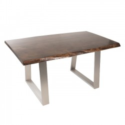 Live Edge Slab Walnut Dining Table with Metal Base, Espresso Stain