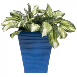 PoliVaz Modern Square Planter, Blue, Large