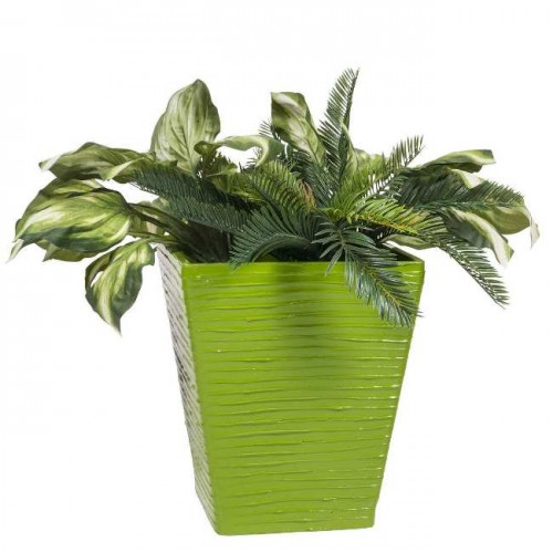 PoliVaz Modern Square Planter, Green, Medium