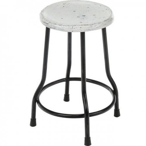 Farmhouse 18 Inch Dining Stool, White