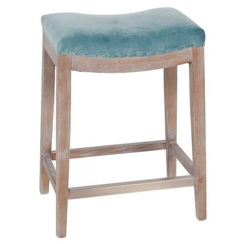 Catherine Counter Stool, Peacock Blue Velvet