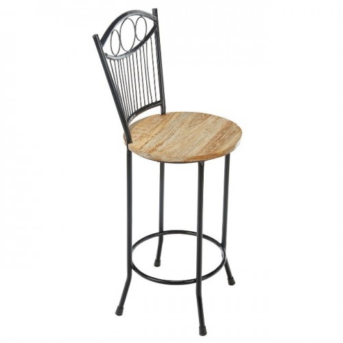 French Country Iron and Wood Counter Stool