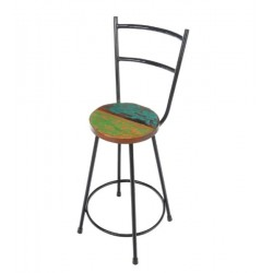 Reclaimed Boat Wood and Iron Counter Stool