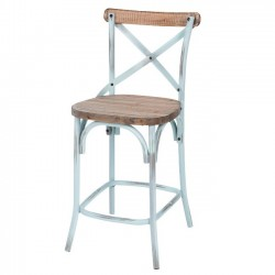 Counter Stool, Rustic Iron & Dark Pine Wood - Antique Blue