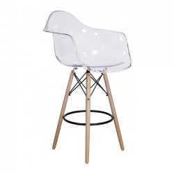 Charles Eames DSW Counter Stool w/ Arms, Clear Replica