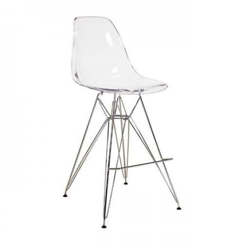 Clear Eames-Style Counter Stool with Chrome Eiffel Legs