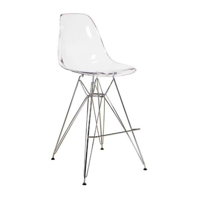 Clear Eames Style Counter Stool With Chrome Eiffel Legs