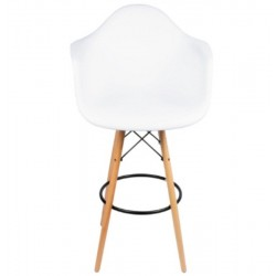 Eames Style Bar Stool, White w/ Tall Wooden Base