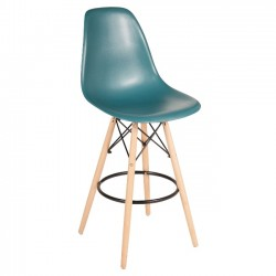 Eames Style Counter Stool, Teal w/ Tall Wooden Base