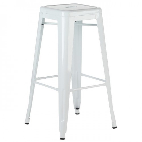 Metal Tolix-Style 30 Inch Bar Stool - White