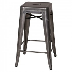 Metal Industrial 26 in. Counter Stool - Gun Metal Steel