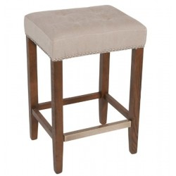 "Nashville Counter Stool Nailhead Beige 26"" / Solid Oak"