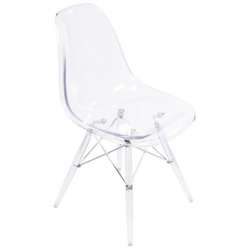 Clear Kitchen Chairs: Clear Acrylic Eames-Style Side Chair With Clear Legs