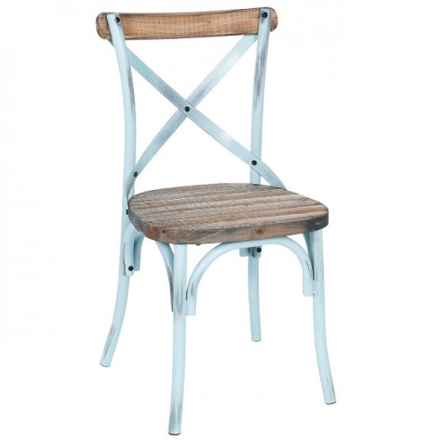 Rustic Iron & Reclaimed Pine Wood Dining Chair, Antique Blue