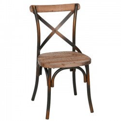 Rustic Iron & Reclaimed Pine Wood Dining Chair, Antique Copper
