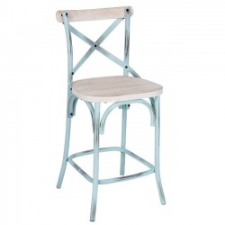 Counter Stool, Rustic Iron & Reclaimed Pine Wood - Antique Blue