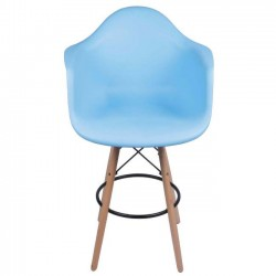 Eames Arm Chair Blue w/ Counter Stool Legs