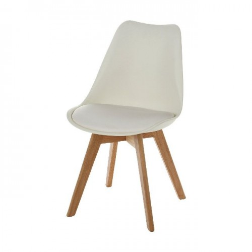 Charles Jacob Style Side Chair with Solid Oak Legs, White