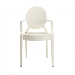 Sophia Ghost Side Chair, White (arms)