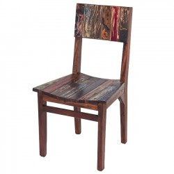 Dining Chair, High Back Reclaimed Fishing Boat Wood