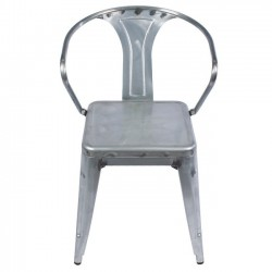 Metal Tolix-style Arm Chair, Silver Industrial Distressed Metal