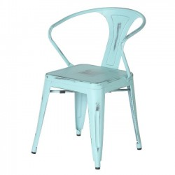 Metal Tolix-style Arm Chair, Antique Vintage Blue