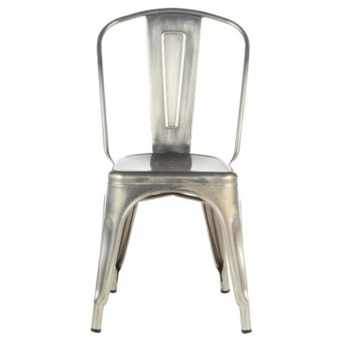 Metal Tolix-style Cafe Chair, Silver Metal