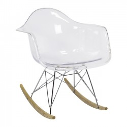 Charles Eames Style RAR Rocker, Clear with Arms