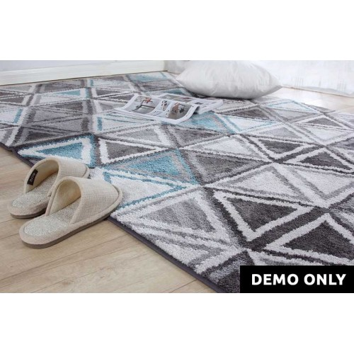 Geometric Blue & Gray Rug